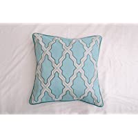 Contemporary aqua blue color base and a beige hand embroidered design Decorative...