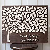 IrmaPetty Rustic Wood Guestbook Sign Wedding Canvas Wooden Guest Book Alternavtive Framed Personalized Gifts Wedding 3D Tree 50x60cm