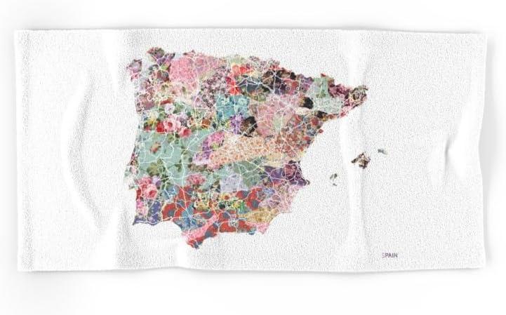Society6 España mapa flores Composición mano y toalla de baño: Mapsland: Amazon.es: Hogar
