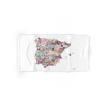 Society6 España mapa flores Composición mano y toalla de baño