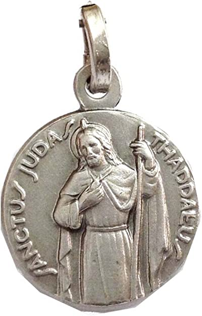 Lot Of 2 St Jude Pray For Us Silver Plate Medal Pendant Patron Saint Gift Set