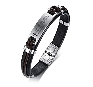 01491a5464ea2b Buy MPRAINBOW Religous Cross Jesus Scripture Quote Christian Jewelry Faith,  Christian Bible Verse Inspiring Leather Bracelets for Men Online at Low  Prices ...