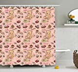 ACD&TV Kids Shower Curtain, Teddy Bear with Cupcakes Cookies Donuts Cakes Cute Playroom Cartoon Print, Fabric Bathroom Decor Set with Hooks, 60W X 72L Inche Extra Wide, Coral Pink Sand Brown