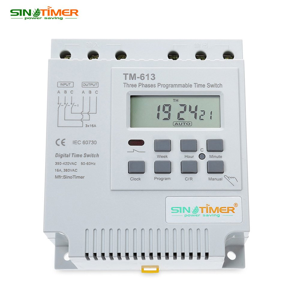 380V Programmable Control Ni-MH button battery Power Timer Three Phases Switch