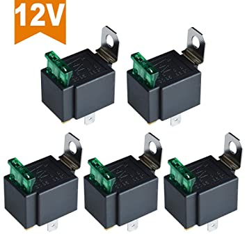 Ehdis Fused Relay On/Off 12V 30A Automotive 4-Pin Fuse Mounting Base