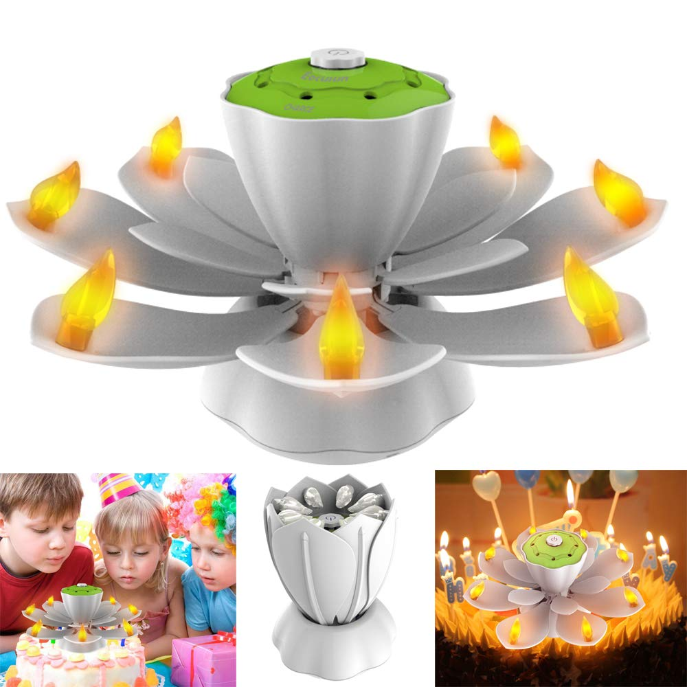 EocuSun Flameless LED Birthday Candles Musical Lotus Rotating 3 Modes Flickering Candle Light For Party
