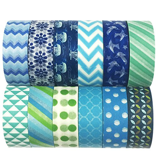 Allydrew Decorative Masking Washi Tapes (Set of 12)