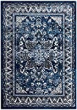 8 x 10 Area Rug Blue & Gray Oriental Medallion Rug for Living Room Dining Room Bedroom Transitional Vintage Distressed Design [ 7′ 10″ X 9′ 10″] For Sale