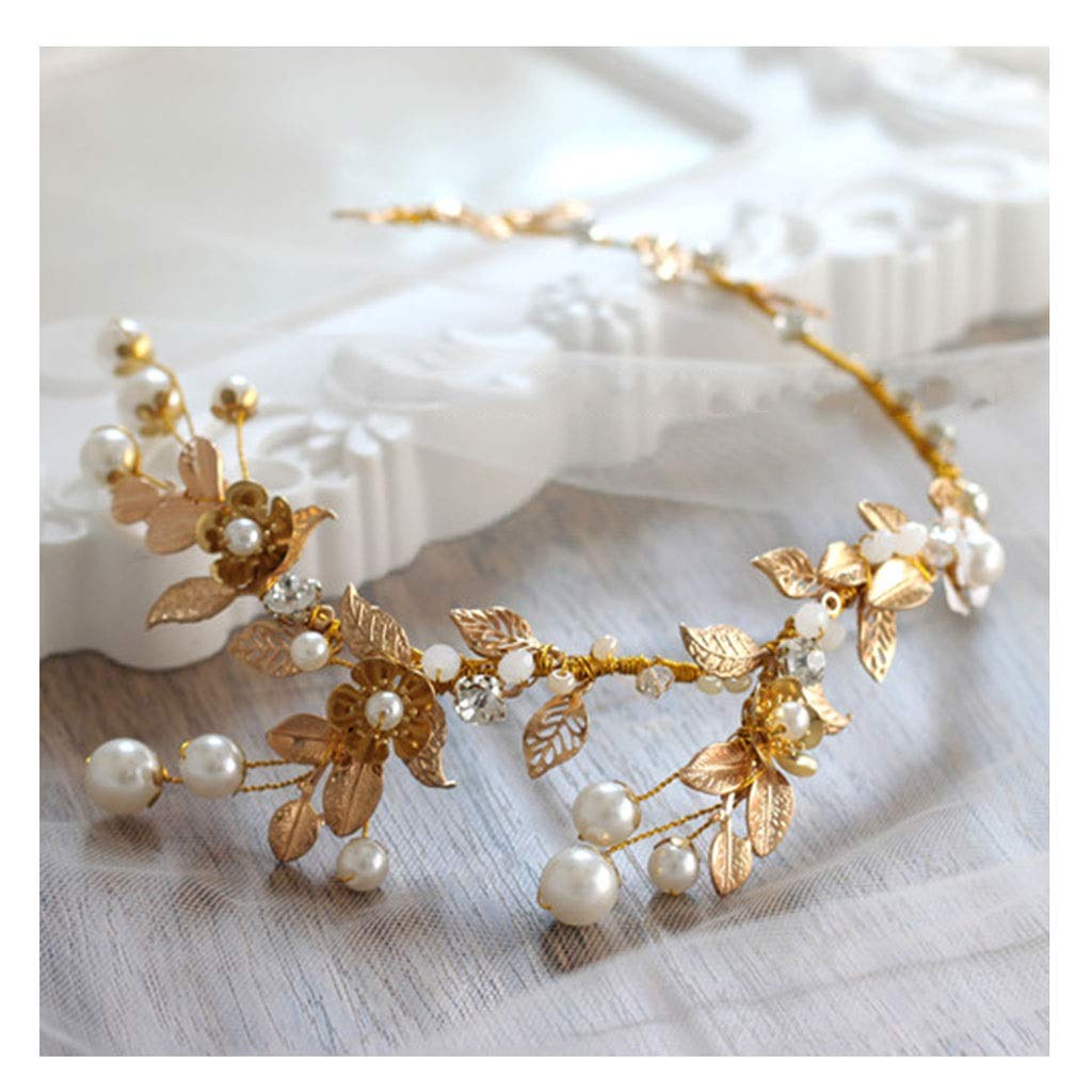 Wreath Flower Bride Tiara Knot Wedding Hair Accessories Golden Leaves Retro Chinese Style Headband (Color : A)