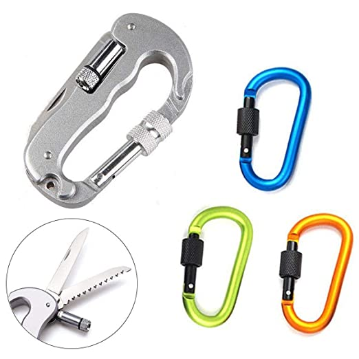 PERTTY Locking Carabiner Keychain,4Pcs Climbing Carabiner Clip Multifunctional Backpack Clasps Clip Hook Multitools With Knife And Led Light(Random ...