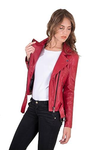 e7edb0569e Chiodo in pelle rossa donna con cintura Made in Italy: Amazon.it ...