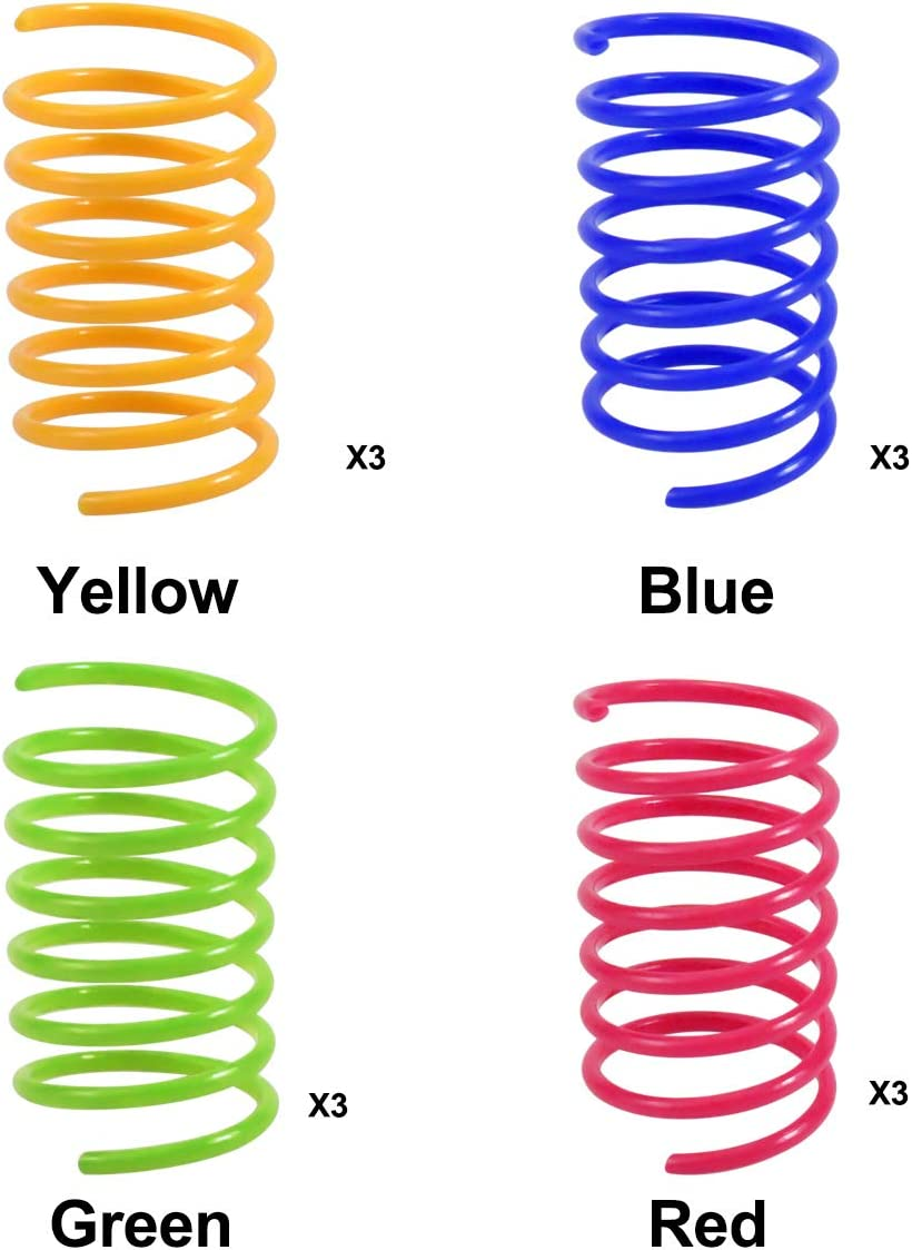 Teeth Cleaning Cat Chew Toys Colorful Spring Cat Toy Plastic Coil Spiral Springs Durable Interactive Toys for Cat Kitten Pets Novelty Gift Toys for Cat NATUCE 12 Pieces Interactive Cat Toys