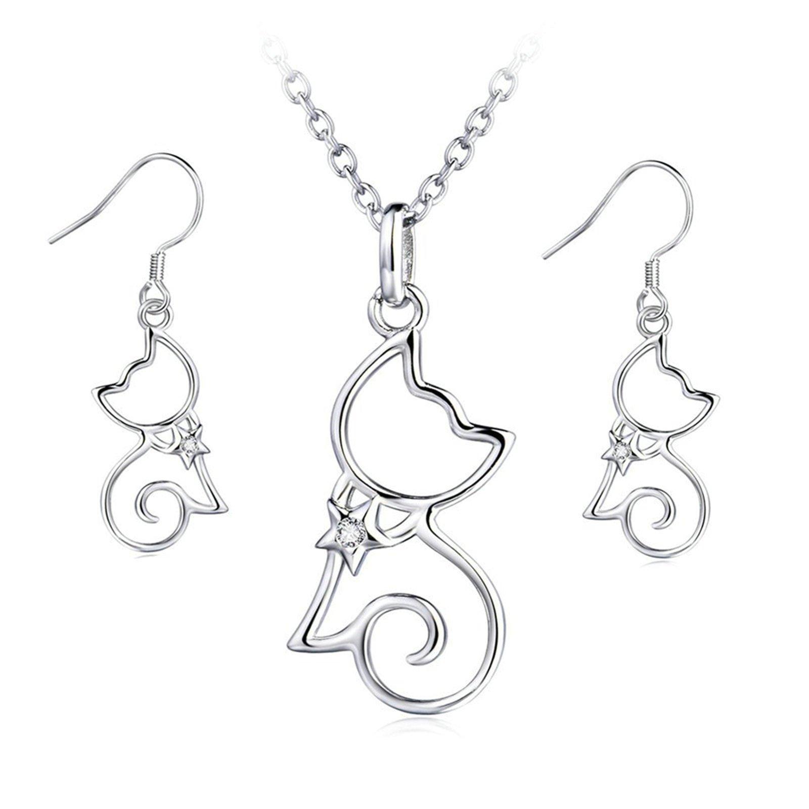 Aooaz Jewelry Silver Plated CZ Open Little Cat Dangle Earrings Pendant Necklace 18''