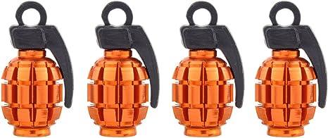 4 Pezzi Arancione Cappucci Delle Valvole Auto in Alluminio Tir Moto Nuovo