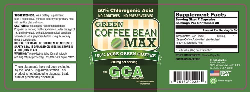 Green Coffee Bean Max, Premium Weight Loss Supplement - 5 Pack