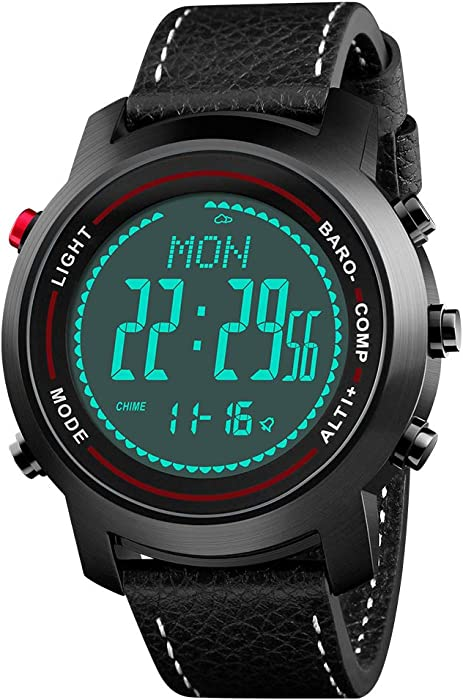 61e3d08a5 Amazon.com  Men Digital Sports Watches with Compass Pedometer Altimeter  Barometer Military Waterproof Wristwatch with Leather Band  Watches