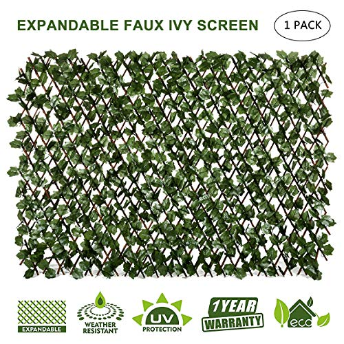 DOEWORKS Expandable Trellis Fence, Willow Faux Artificial Leaf Ivy Privacy Fence Screen for Backdrop Garden Backyard Home Decorations