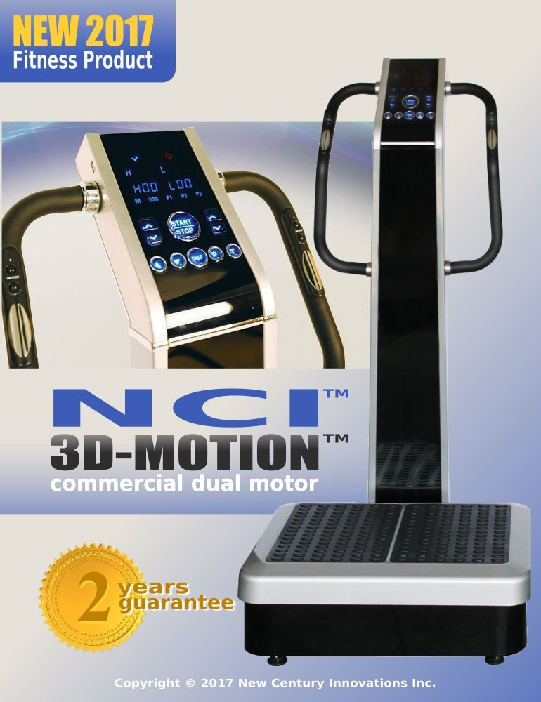 Whole Body Vibration Machine - 3D-MOTION by NCI : Commercial (2HP, 440 lbs), Dual Motor, Large Vibrating Platform, USB Programmable