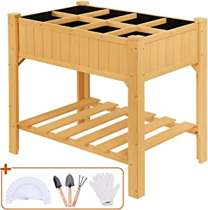 Quictent 8 Grids Raised Garden Bed 35.4''L x 23.6''W x 35.4''H Wooden Planter Kit Box with Legs for Herbs Vegetable and Flower, Bonus 1 Pair of Glove 3 Shelves 50 T-Type Plant Tags
