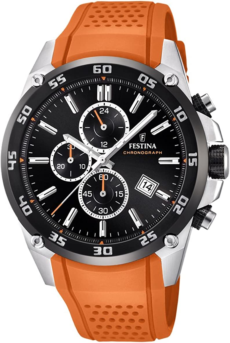 Festina The Originals Collection Men s Quartz Watch with Black Dial Chronograph Display and Orange Rubber Strap F20330 4