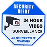 Reflective Video Surveillance Camera Sign, Security Alert 24 Hour Video Surveillance Sign, Large Octagon 12 x 12 Rust Free 0.40 Aluminum Sign by MiraCase
