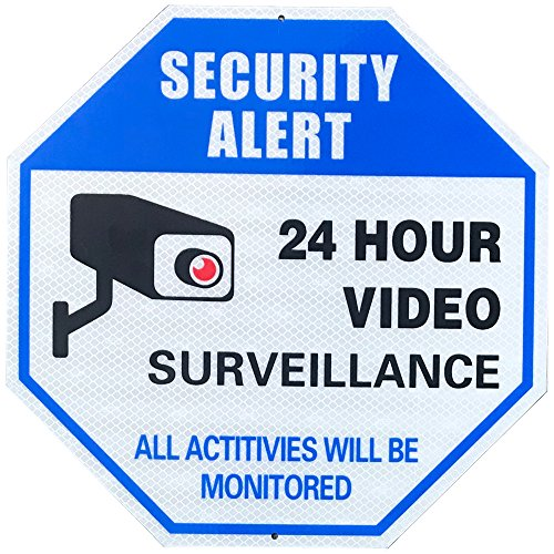 MiraCase Video Surveillance Sign Security Alert Super Reflective 24 Hour Video Surveillance All Activities Will Be Monitored Rust Free Large Octagon Indoors Outdoors 12 x 12inch 0.40 Aluminum Sign from MC MIRACASE