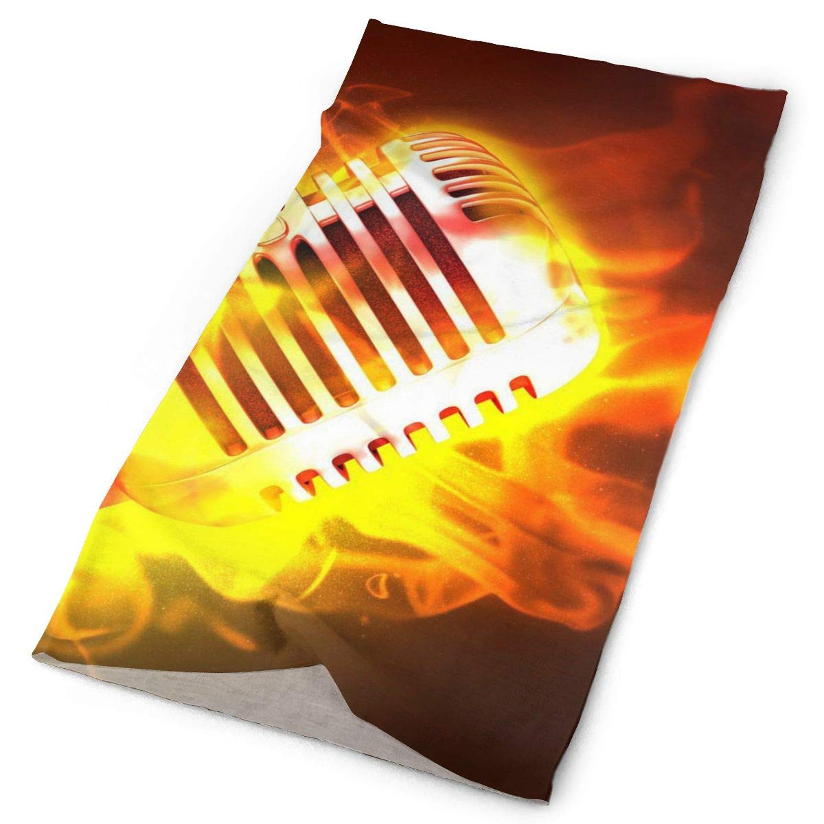 Abstract Rock Music Flame Microphone Unisex Fashion Quick-Drying Microfiber Headdress Outdoor Magic Scarf Neck Neck Scarf Hooded Scarf Super Soft Handle