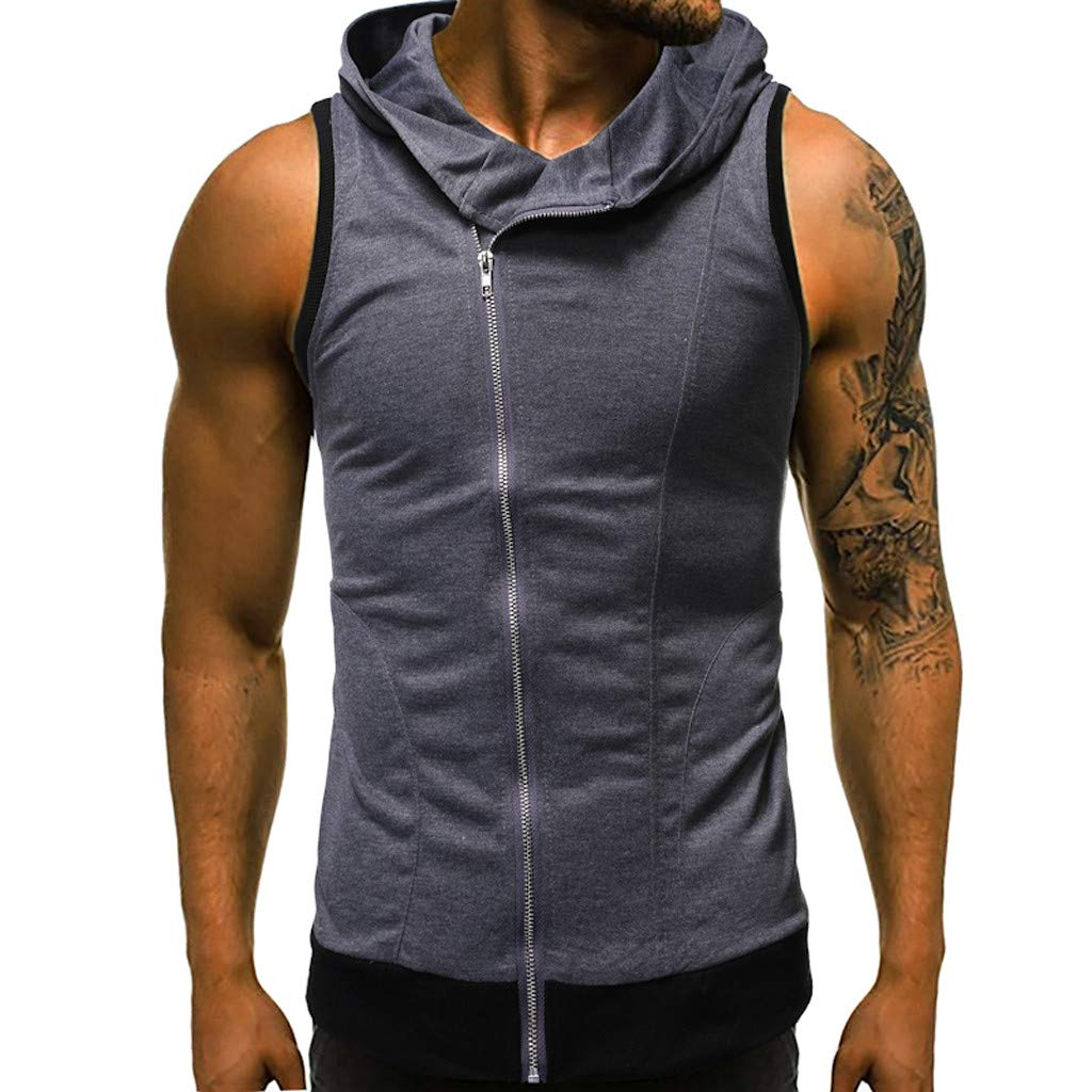Men's Summer Sleeveless Hoodie Zip-up Vests Sleeveless T-Shirt Top Bodybuilding Active Shirts Hooded Dark Gray