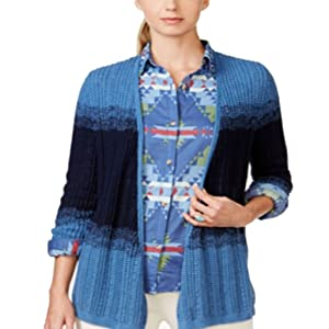 American Living Womens Striped Open Front Cardigan Sweater Navy L