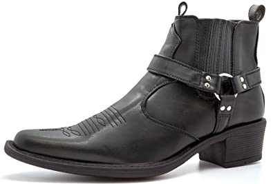 85ac0510cce0 Mens Gents Cuban Heel Pull On Western Boots  Amazon.co.uk  Shoes   Bags