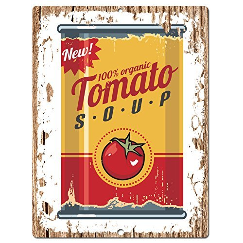 Rustic Tomato Soup (Tomato Soup CAN Poster Chic Sign Rustic Vintage Retro Kitchen Restaurant Store Movie Room Bar Pub Coffee Shop Aluminum Metal Sign 10