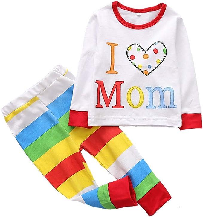 Pants 0-5 Years Old Baby Boys Girls Tracksuit Sweatpants and Cartoon Printed Pullover Casual Crewneck Tops Pajamas Kids Jumper Outfits Set Lonshell Long Sleeve Sweatshirt