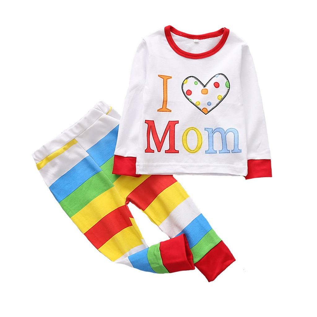 2Pcs Baby Boy Outfits Set, Toddler Long Sleeve Cartoon Letter Print Tops Clothes + Stripe Short Sleepwears (12-18 Months, White)