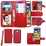 Samsung Galaxy Note 3 III Case, xhorizon ™ Premium Leather Folio Case [Wallet Function] [Magnetic Detachable] Fashion Wristlet Lanyard Hand Strap Purse Soft Flip Book Style Multiple Card Slots Cash Compartment Pocket with Magnetic Closure Case Cover Skin ZA5 for Samsung Galaxy Note 3/III (N9000) - Red