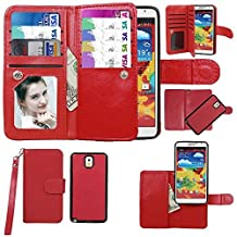 Case for Samsung Case for Galaxy Note 3, xhorizon Premium Leather Folio Case [Wallet Function] [Magnetic Detachable] Fashion Wristlet Lanyard Hand Strap Purse Soft Flip Book Style Multiple Card Slots Cash Compartment Pocket with Magnetic Closure Case Cover Skin ZA5 for Samsung Galaxy Note 3/III (N9000) - Red