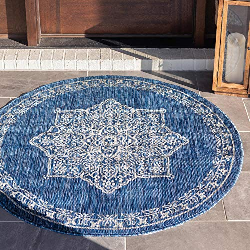 Outdoor Medallion Rug - Unique Loom Outdoor Traditional Collection Classic Medallion Transitional Indoor and Outdoor Flatweave Blue  Round Rug (4' x 4')