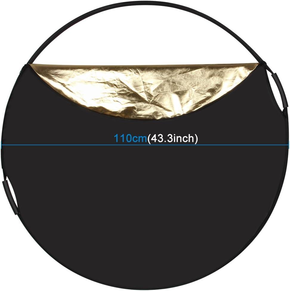 Folding Photo Studio Reflector Board FoldingYHM PULUZ 110cm 5 in 1 Silver//Translucent//Gold//White//Black
