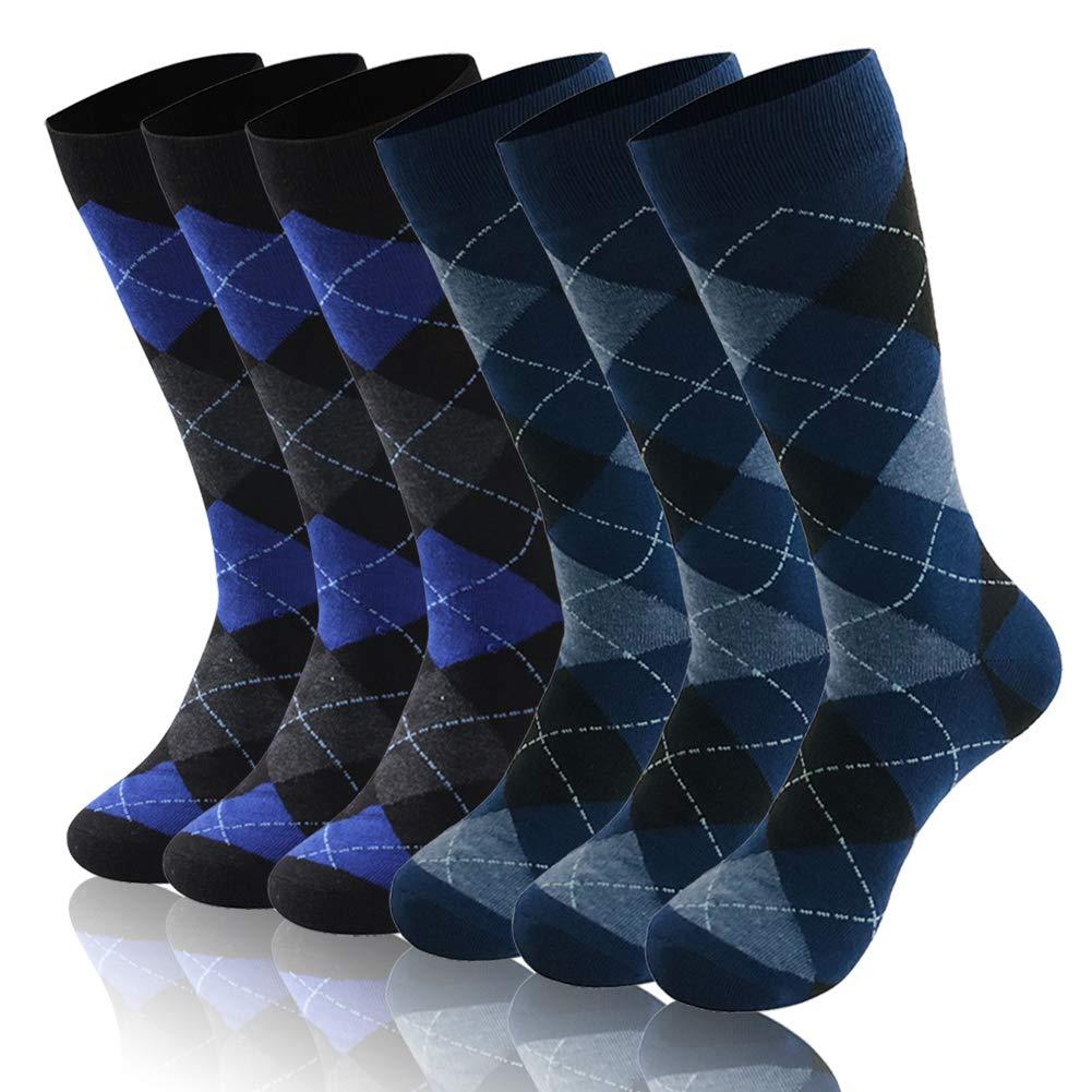 Diwollsam Navy Socks Dress, Men's Women's Argyle Diamond Blue Clissic Vintage Breathable Long Mid Calf Golf Party Everyday Casual Socks, 6 Pairs(Argyle, L) by diwollsam