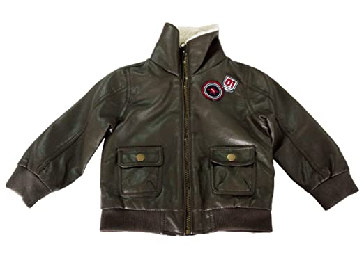 31cb688bd Image Unavailable. Image not available for. Color: Infant Baby Boy PU  Leather Paded Jacket Outerwear