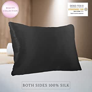 MYK 100% Pure Natural Mulberry Silk Pillowcase, 22 Momme for Hair and Skin Care, OKEO-TEX Certified, Hypoallergenic (Queen, Black)