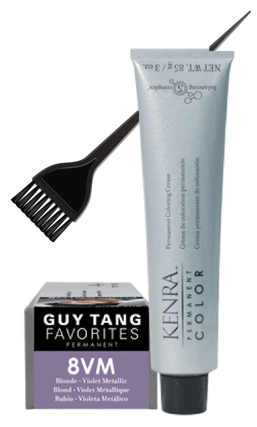 Kenrä Permanent Color Coloring Creme Haircolor, METALLIC SERIES, Balancing 5 Complex, 3 oz (w/Sleek Tint Brush) Cream Hair Color Dye, Guy Tang Favorites (8VM Violet Metallic)