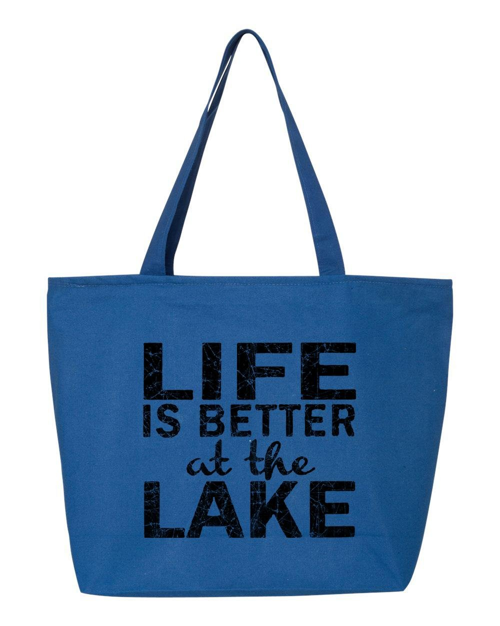 【GINGER掲載商品】 shop4ever shop4ever Life ロイヤル Is Better At The LakeブラックHeavy Canvas B07117CMMJ Tote with Zipper Sayings再利用可能なショッピングバッグ12 oz Zip 25 oz ブルー S4E_1215_LifeLakeBlk_TB_Q611_R Blue_1 B07117CMMJ ロイヤル, ナイススタイル:7ab24ad6 --- 4x4.lt