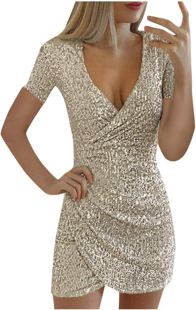 Kleider Briskorry Damen Abendkleid Kurz Paillettenkleid ...