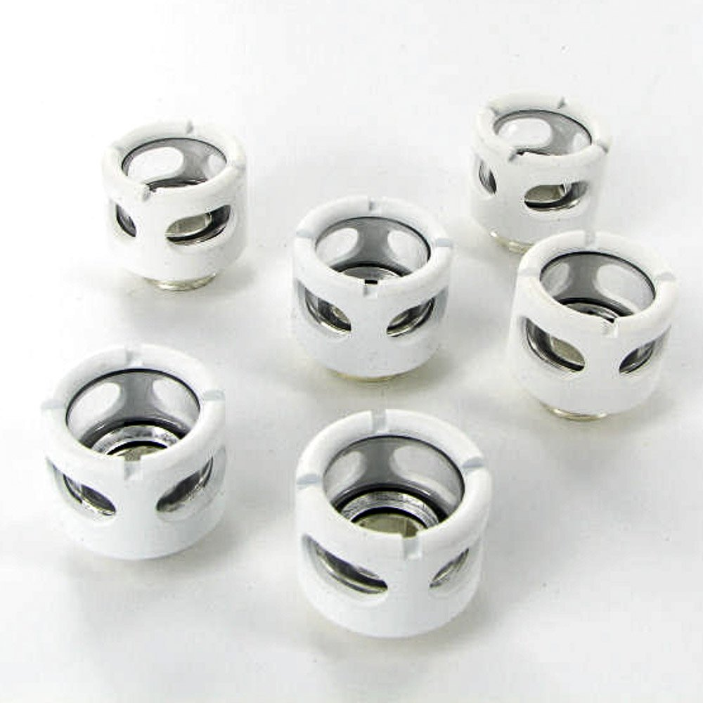 """Monsoon G1/4"""" to 1/2"""" ID, 5/8"""" OD Free Center Hardline Compression Fitting (for Use with Monsoon Rigid Tubing Only), White, 6-Pack"""