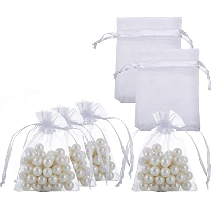 67cbc7f1f553 Small Organza Bags with Drawstrings 2.7x3.5 inch, White, Pack of 100