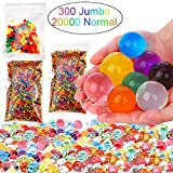 Toys : Leeche Non Toxic 300pcs Jumbo & 20000 Small Water Beads Gel Beads Kit for Kids-Value Package Sensory Toys and Decoration