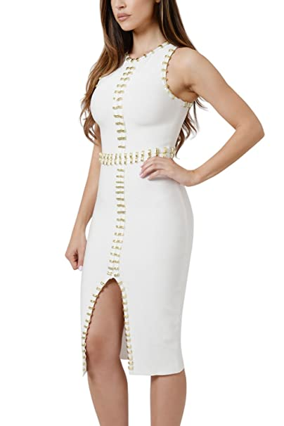 Dear-Lover Vestido Bandage blanco talla L con adornos metálicos