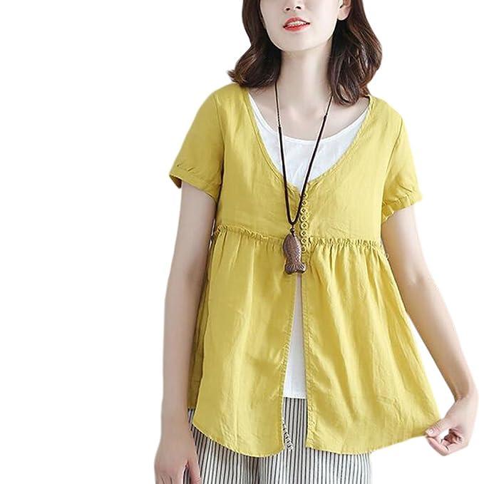 Hzjundasi Mujer Big Code Suelto Algodón Lino Button Camisa Verano Manga corta Tops Blusas: Amazon.es: Ropa y accesorios