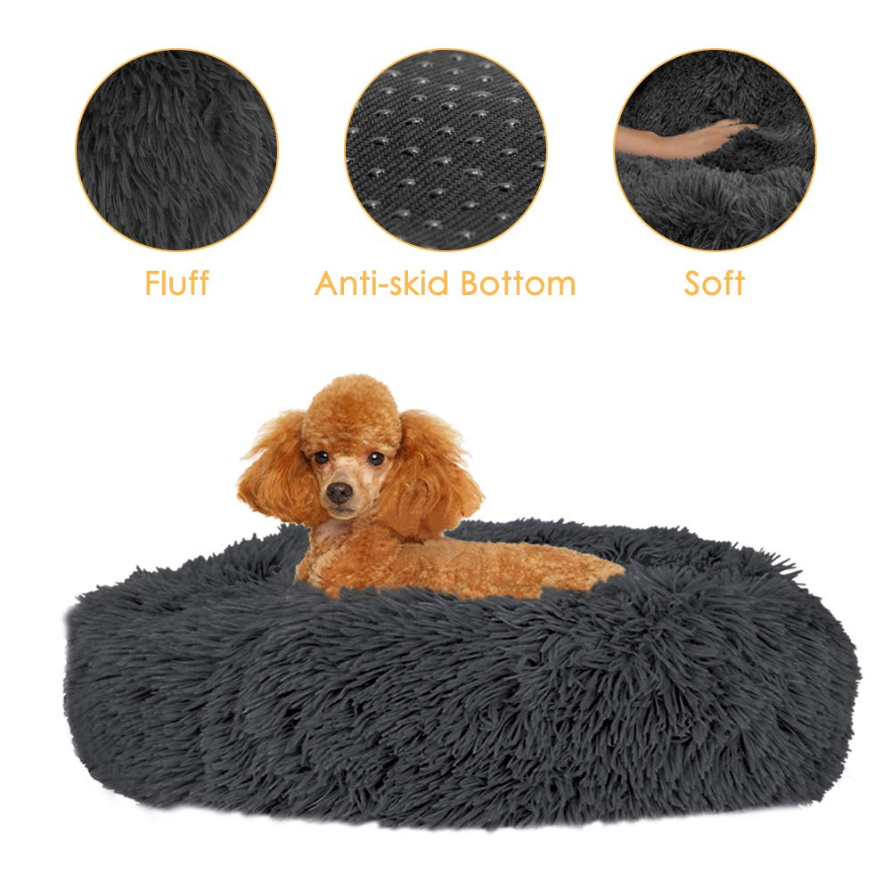 AUTOWT Calming Dog Bed, Donut Dog Beds Faux Fur Cuddler Nest Soft Plush Cushion with Cozy Sponge Non-Slip Bottom for…