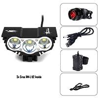 BYBO Ultrabright 6600LM 3x CREE XM-L U2 LED Cyclisme Bike Light Bicyclette Lamp Headlight Head Torch Headlight Headlamp + 1 x Sécurité Durable Flashing Bright Bike Rear Light + 8.4V 6400Mah batterie étanche + chargeur USB